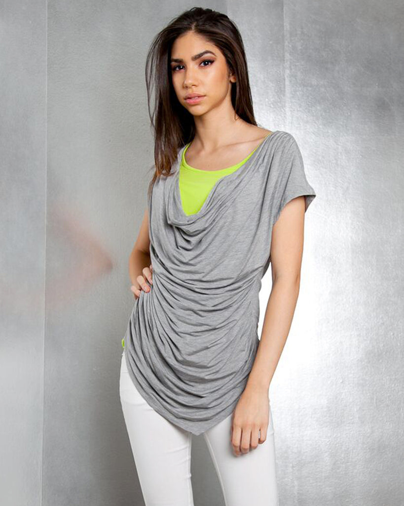 Patrizia Luca Milano Spring 2017 Grey Top Lime Top Grey Lime Top