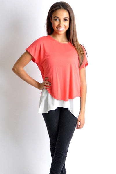 Twofer Top Color Block Patrizia Luca Milano Spring Tshirt Top