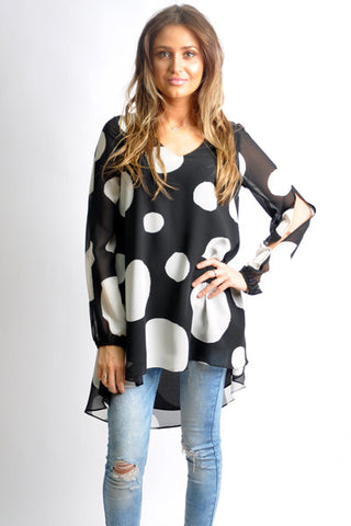 Polka Dot Split Sleeve Tunic Dress