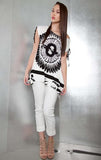 White Black Top Splatter Top with Shoulder Ties Patrizia Luca Spring