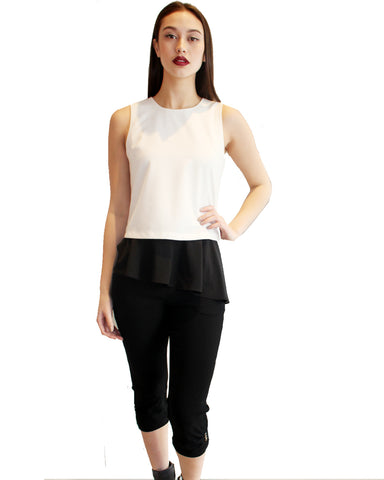 Two Tone Sleeveless Pepilum Top