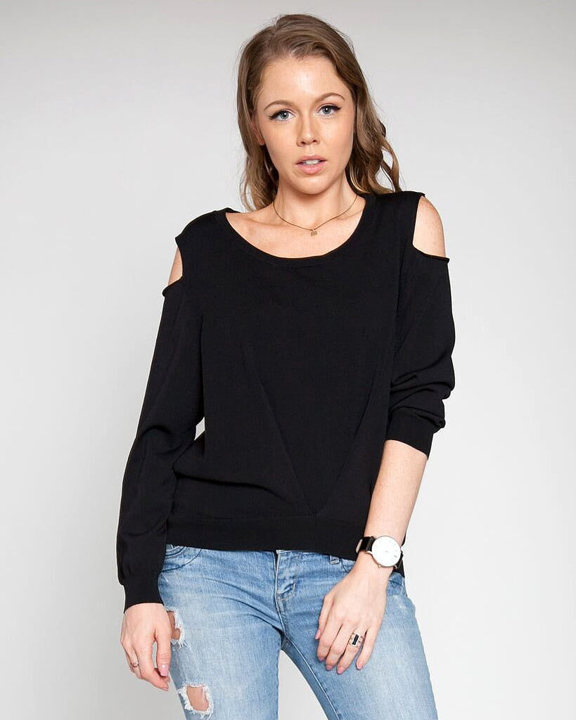 Patrizia Luca Cold Shoulder Sweater with Pleated Front and Back Detail Black Front Image