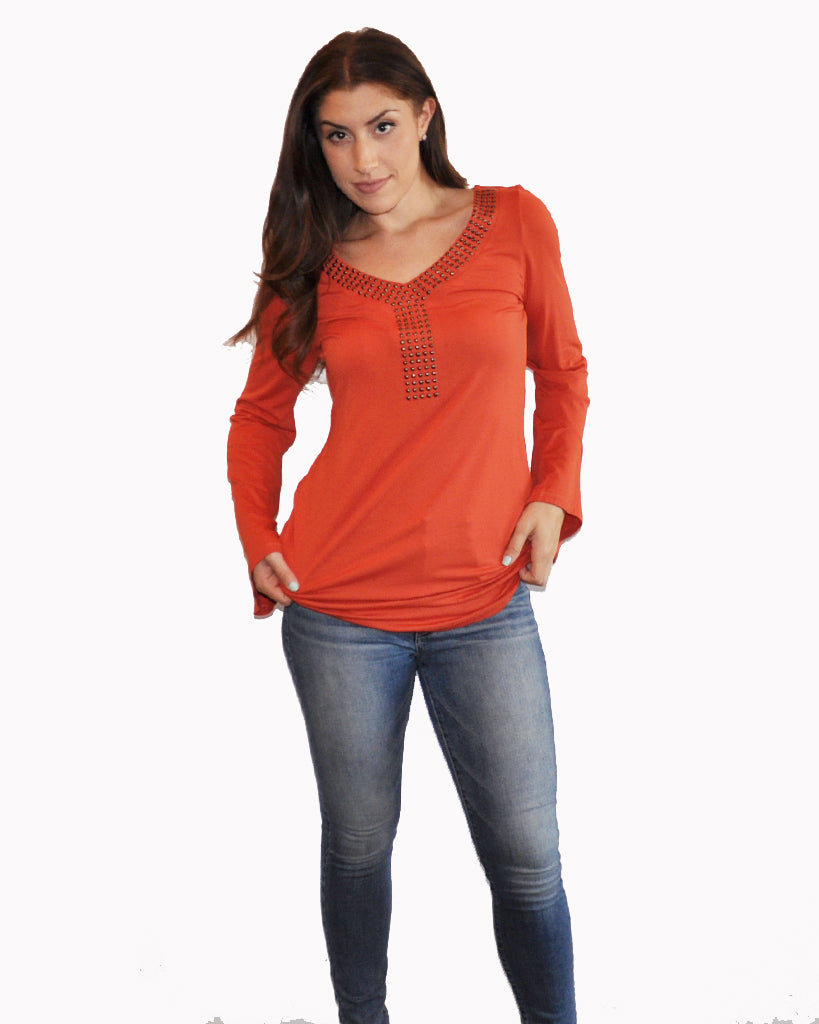 Orange Top - Black Top - Ruched Side Top - Ruched Top - Ruched Tunic - Patrizia Luca V Neck Tunic Top - Fall Top
