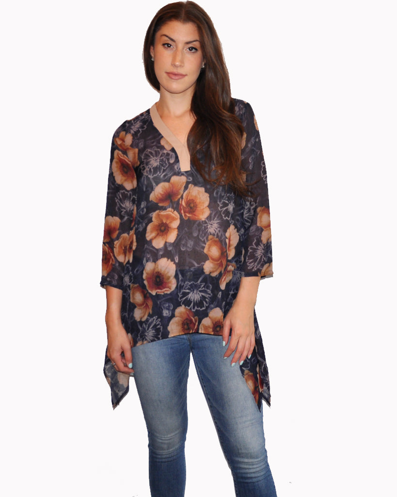 Printed Floral Chiffon Tunic Top