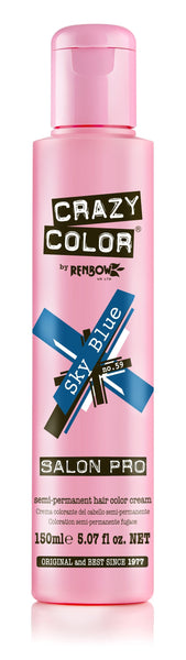 Crazy Color Semi-Permanent Hair Color Cream - Sky Blue No. 59 (150ml)
