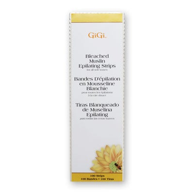 "Gigi Large Bleached Muslin Epilating Strips (100 Pack, 3"" x 9"")"
