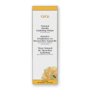 "Gigi Large Natural Muslin Strips (100 Pack, 3"" x 9"")"