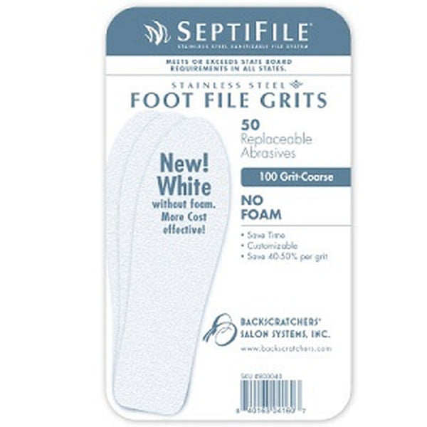Backscratchers SeptiFile Foot File White 100 Grit (50 Count)