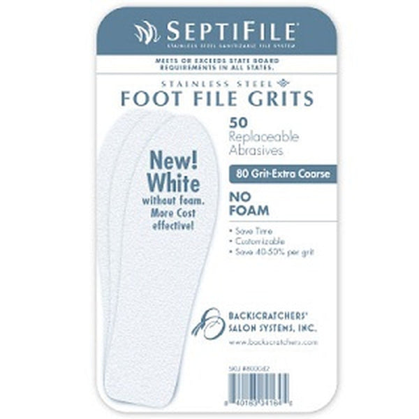 Backscratchers SeptiFile Foot File White 80 Grit (50 Count)