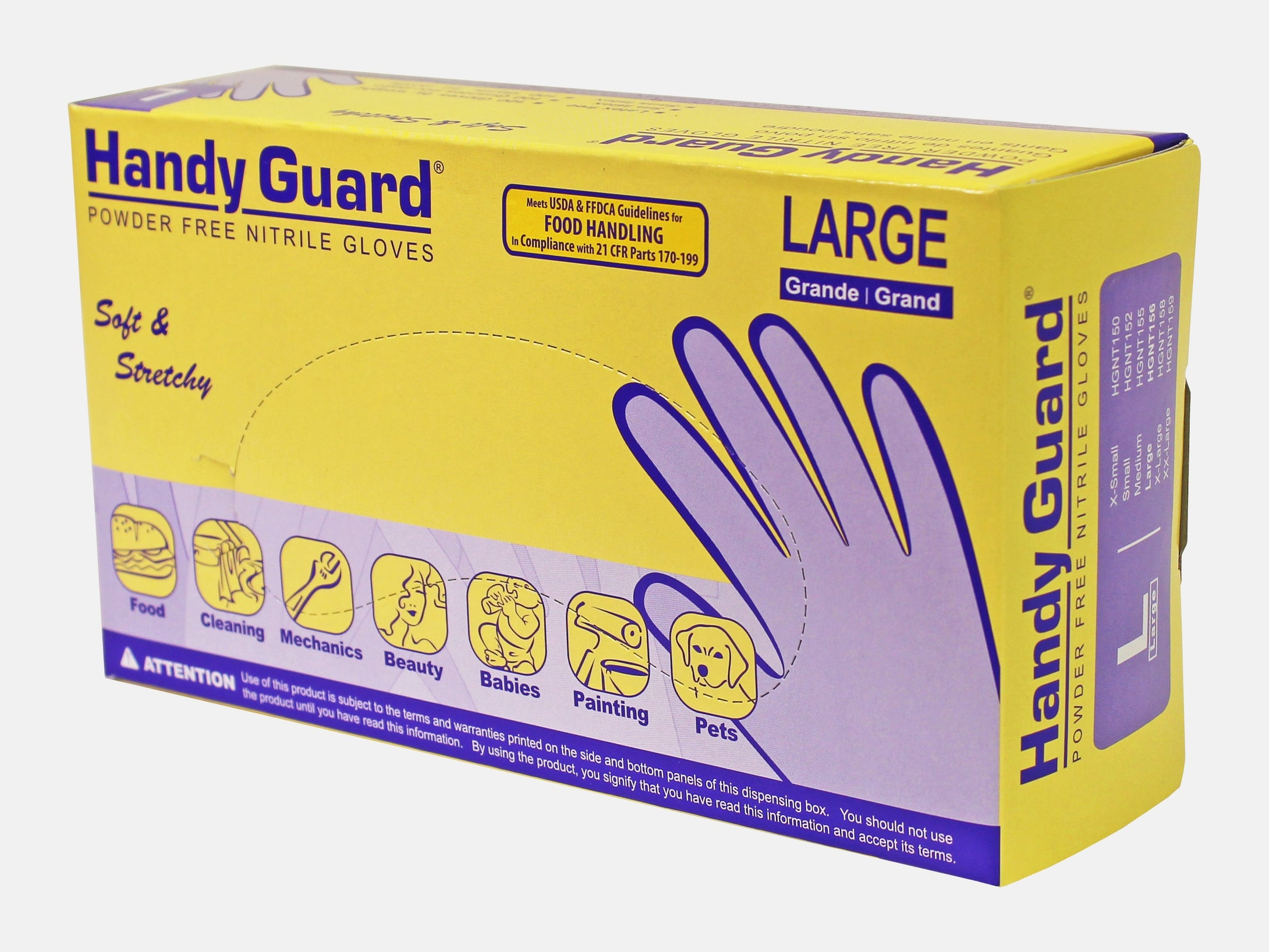 Handy Guard 3.5 mil Nitrile Powder Free Gloves (100/Box)
