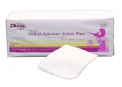 "DUKAL Reflections™ 100% Cotton Non Woven Esthetic Wipe, 3""x 3"""