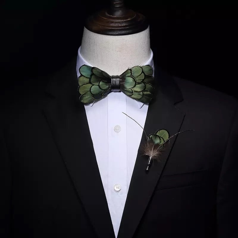 Feathered Bow Tie And Brooch Set