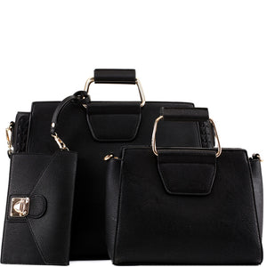 """Hazel"" Black Handbag Set"