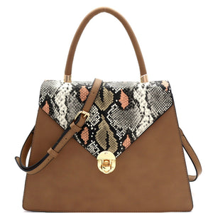 """Rowan"" Multicolored Snake Print Satchel"