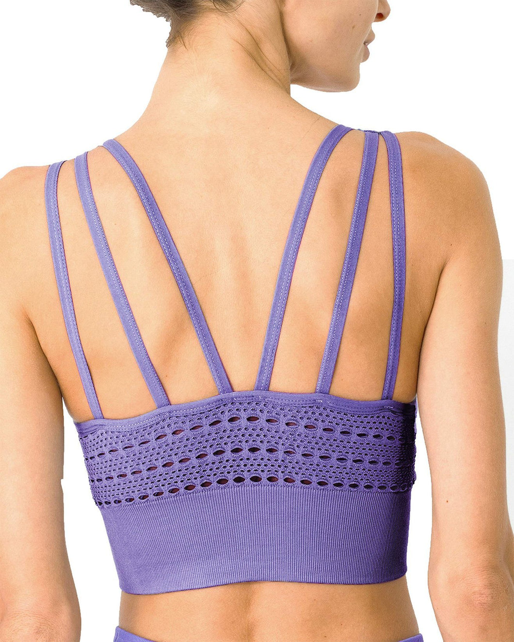 Mesh Seamless Bra With Cutouts - Purple - OzMe.com.au