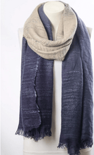Navy Blue & Ivory Ombre Winter Long Fringe Scarf - OzMe.com.au