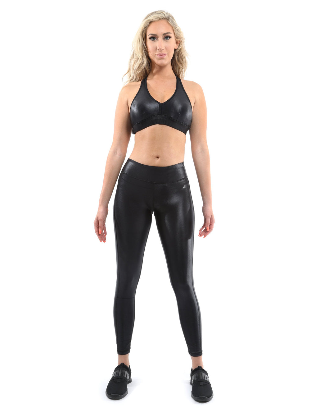 Cortina Activewear Leggings & Sports Bra Set - Black [MADE IN ITALY]