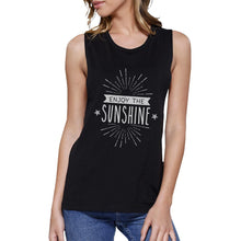 Enjoy the Sunshine Womens Black Muscle Top - OzMe.com.au