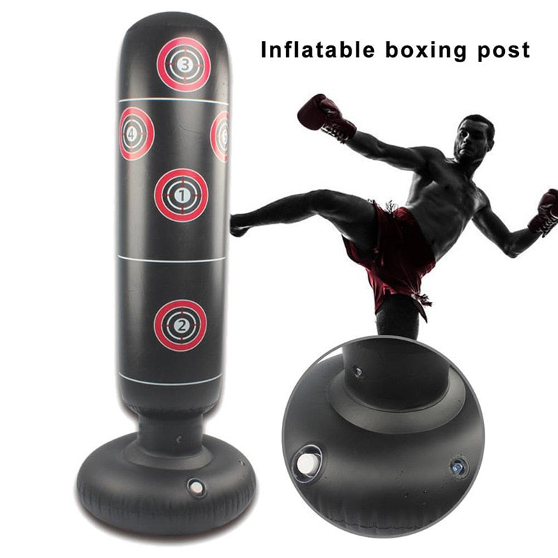 Training Fitness Vertical Inflatable Boxing Bag PVC Thickening Boxing Pillar Tumbler  Column Punching Bag Fitness Tool