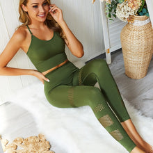 Seamless yoga set with Leggings and Padded Push-up sports bra suits