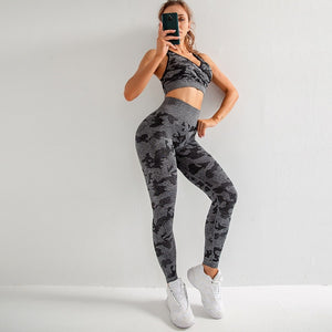 Yoga Set Seamless Camouflage Leggings and Bra Gym Workout Sport Suit