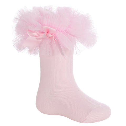 SPANISH STYLE FRILLY RIBBED SOCKS WITH LACE /& BOW