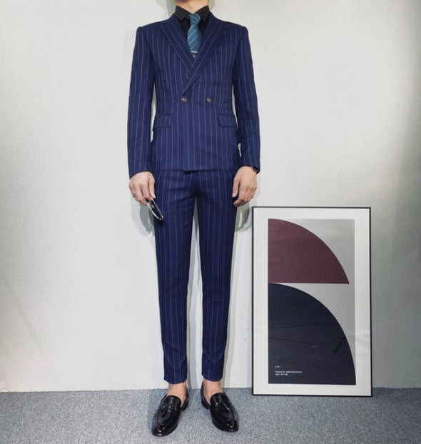 Double Dreasted Stripe SUIT SETUP Vel158 - Velmmo