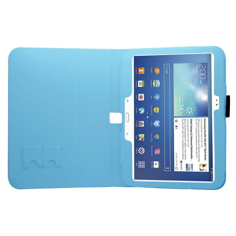 "Samrick 000009253 Executive Specially Designed Soft Leather Protective Case with Stand for 10.1"" Samsung Galaxy Tab 3 P5200 / P5210 / P5220 Sky Blue"