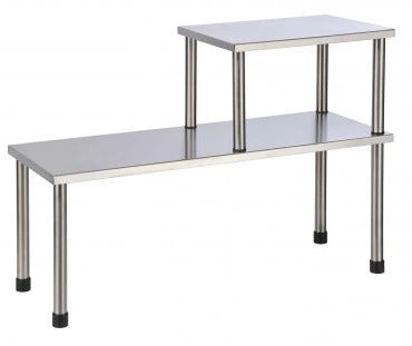 Stainless steel 2-stage kitchen shelf with non-slip rubber feet