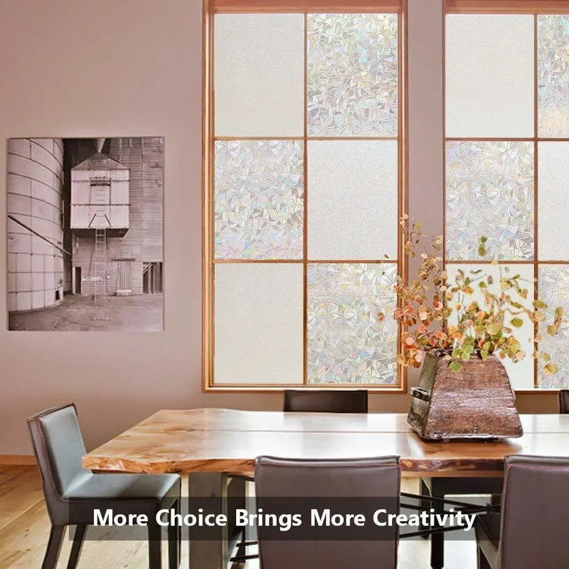 Rabbitgoo 3D Non-Adhesive Window Film Decorative Privacy Static Clings Rainbow Colorful Pattern Glass Film 90x200cm
