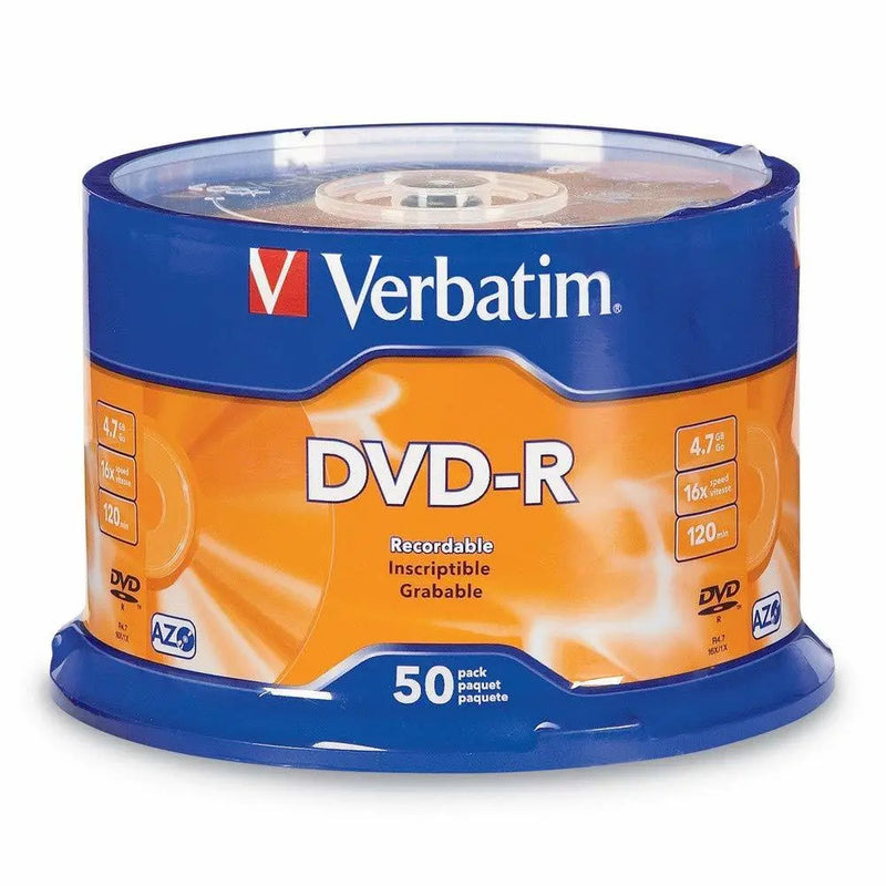 Verbatim 95101 16x DVD-R Media 4.7GB DVD-R, pack of 50 discs