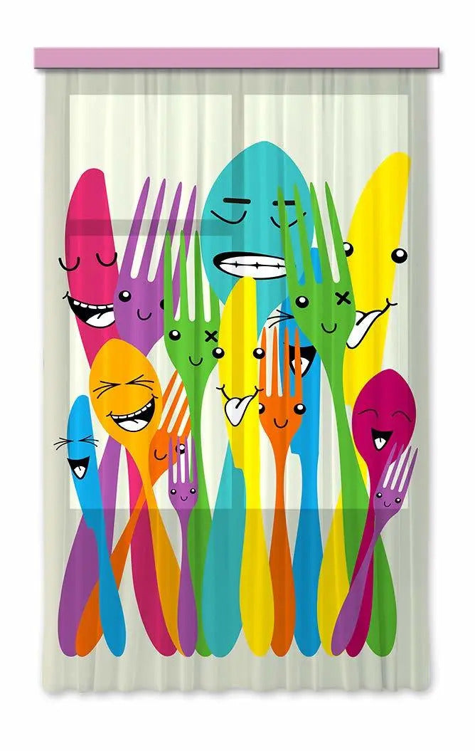 Curtain - spoons and forks - 140 x 245 cm - FCS L 7509