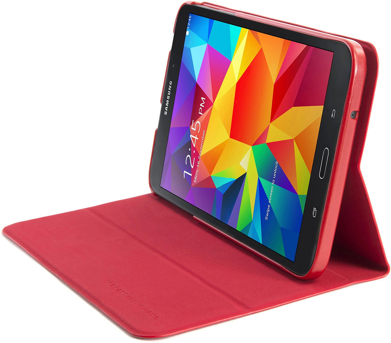 Tucano RIGA - Faux leather hard case for Samsung Galaxy Tab 4, red adjustable position