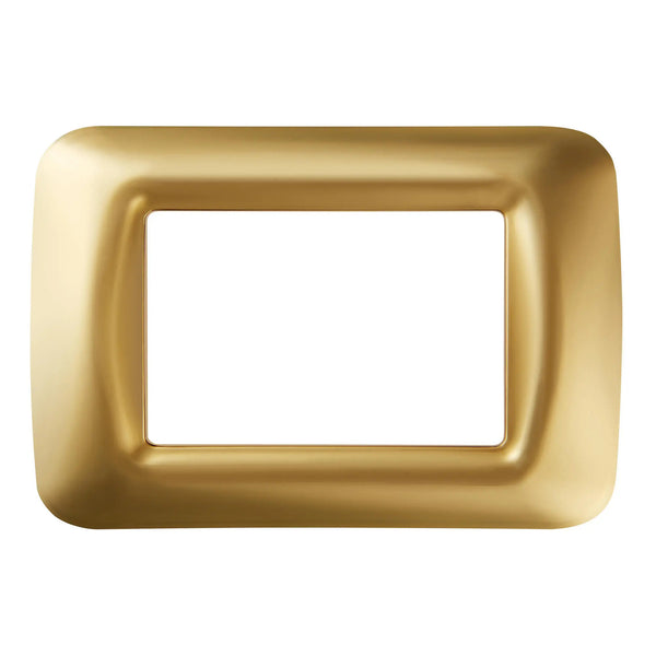 Gewiss GW22663 Gold outlet box - Top system plate in technopolymer gloss finish - 3 gang
