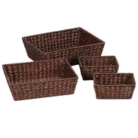 Household Essentials ML-6695B Set Of 4 Wicker Storage Baskets, Brown
