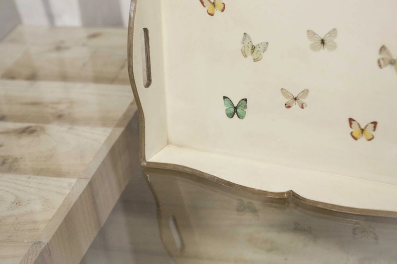 Fundashop wooden tray with butterfly decoration 50 x 35 x 6 cm