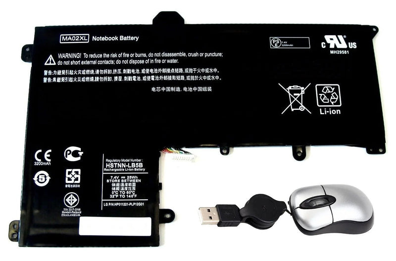 Amsahr MA02XL Replacement Battery for HP MA02XL - Includes Mini Optical Mouse