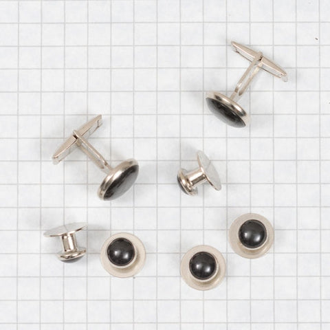 shirt studs and cuff links, black w. silver rims