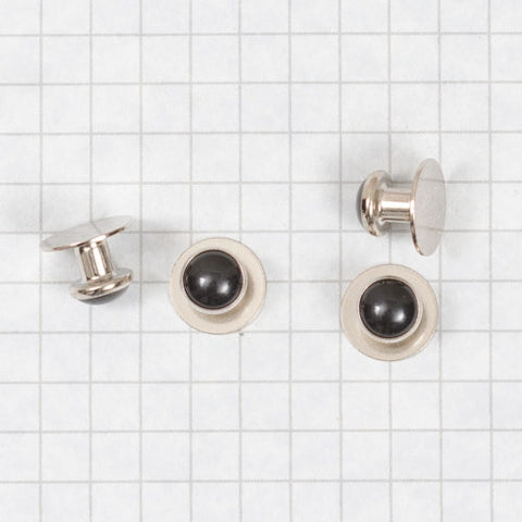 shirt studs, round - black with silver rims