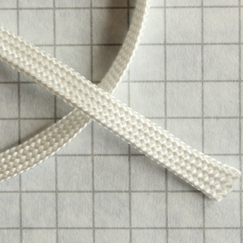 Flat braid lacing, 100% Nylon WHITE