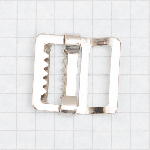 buckle, slider style w. teeth, nickel 19mm (3/4 inch)