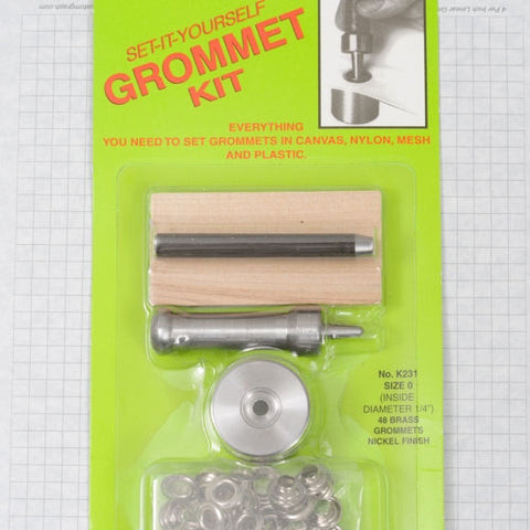 Grommet setting kit w. 4 doz grommets, size 0 nickel (domestic)