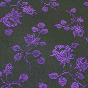 Brocade coutil, rose pattern, black  w purple roses 54 inch wide