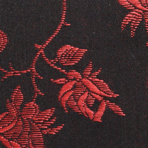 Brocade coutil, rose pattern, black  w red roses 54 inch wide