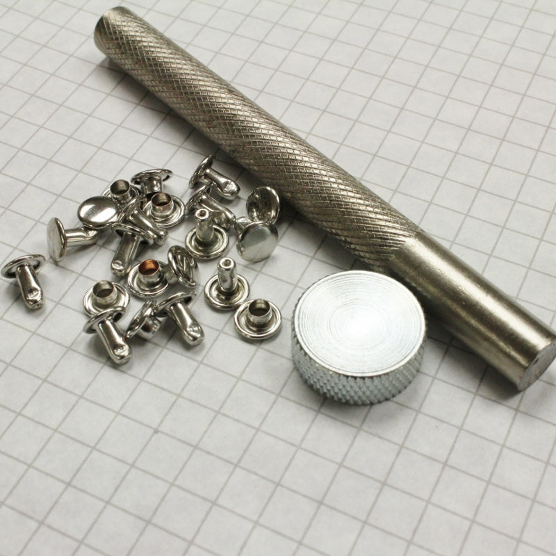 Rivet setting kit; the anvil, the setting post and 10 sets of rivets