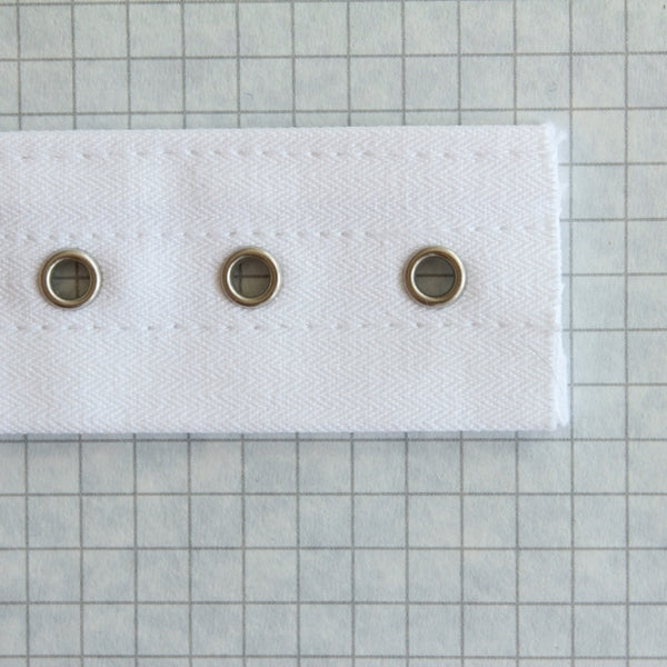 Lacing tape with bone channels & nickel eyes, White
