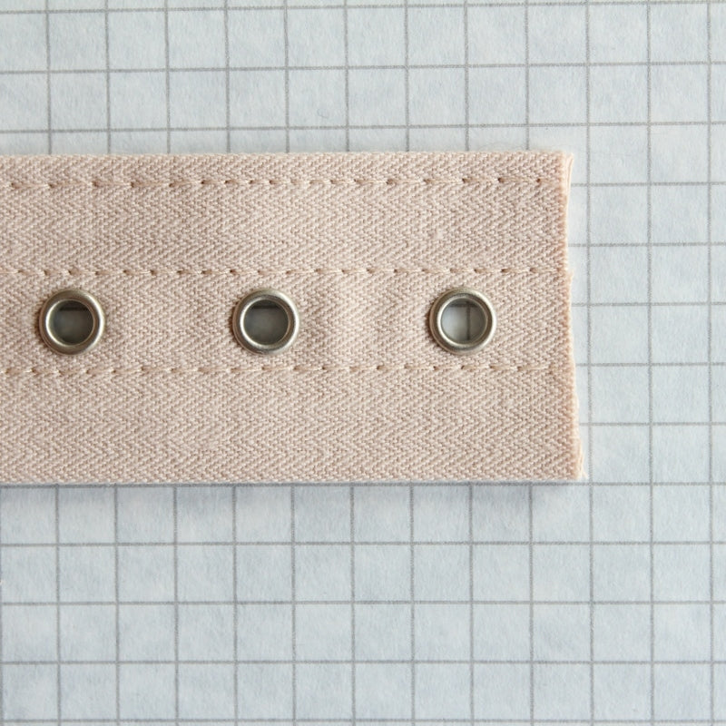 lacing tape with bone channels & nickel eyes, Beige