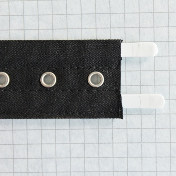 Lacing tape with bone channels & nickel eyes, black