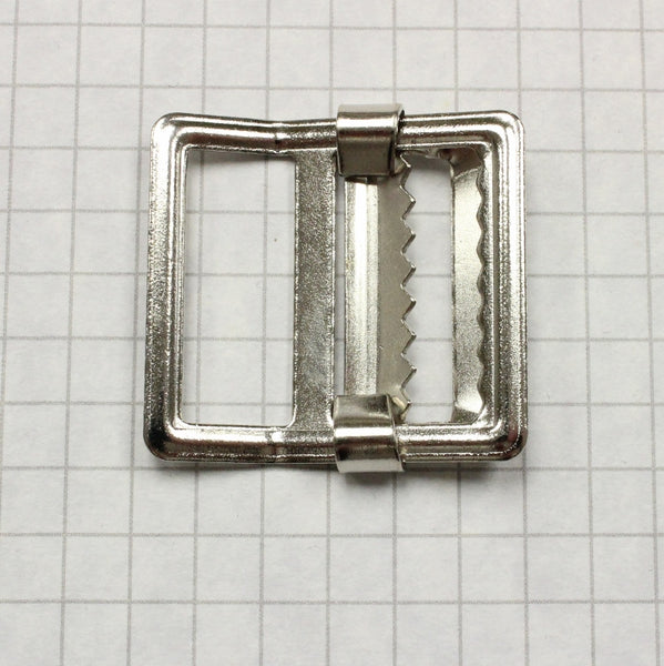 Buckle, slider style w. teeth, nickel 1""