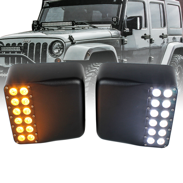 Elite Series Side Mirror LED Turn Signal and Running Light Covers for Jeep Wrangler JK Models